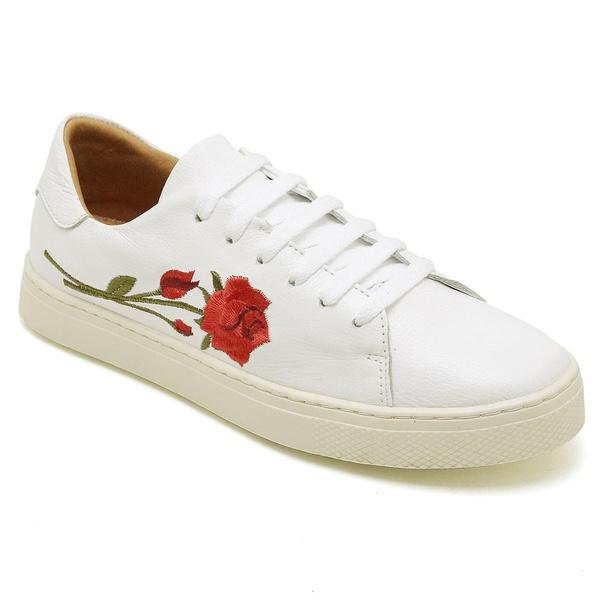 Tênis Casual Feminino Branco Flor Conforto