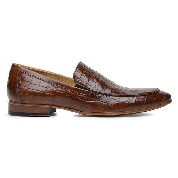 Sapato Social Caramelo Couro Croco Wood