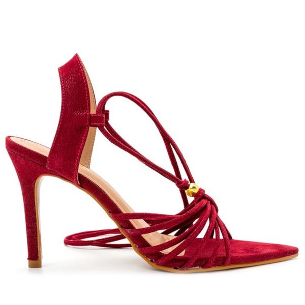 Sandália Vermelha Salto Fino Julia Andara