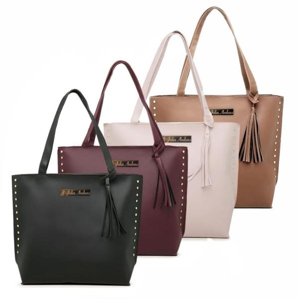 Kit 4 Bolsas Femininas Sacola Shopping várias cores Julia Andara