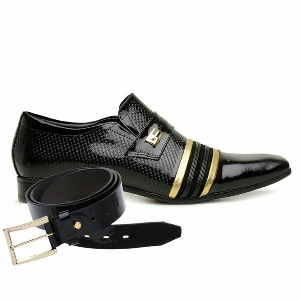 Sapato Social Jota Pe Verniz Preto/Ouro Velho + Cinto de Verniz
