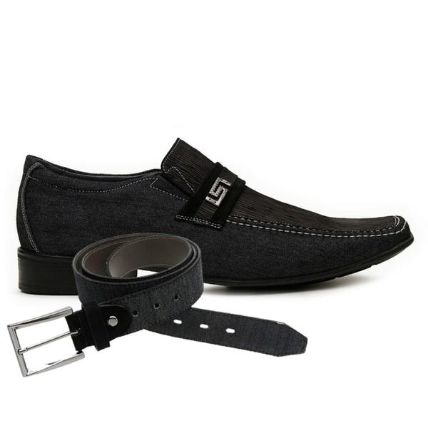 Sapato Casual Jota Pe Jeans Preto Air Diesel + Cinto Jeans