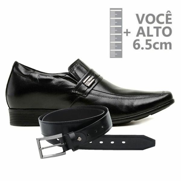 Sapato com Salto Interno Jota Pe Preto Couro Grow AirC+ Cinto de Couro