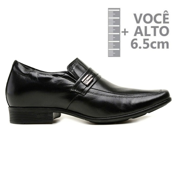Sapato com Salto Interno Jota Pe Preto Couro Grow Air