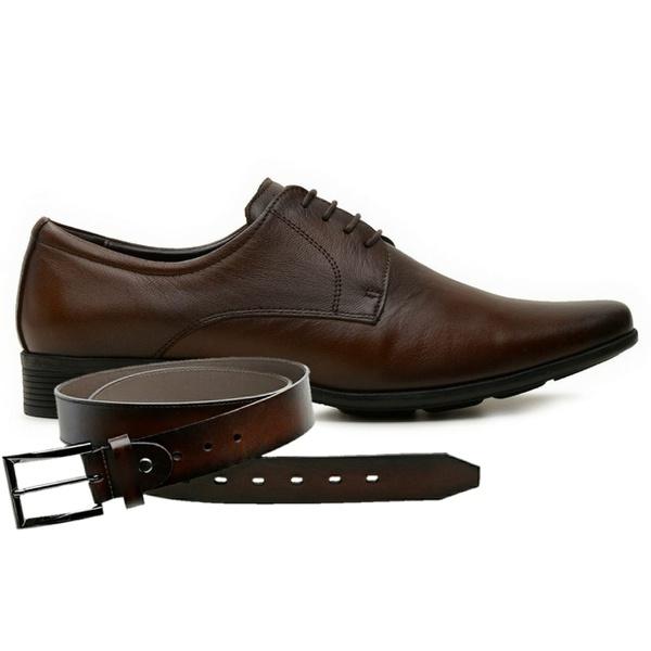 Sapato Jota Pe Couro Marrom Air Magic + Cinto de Couro