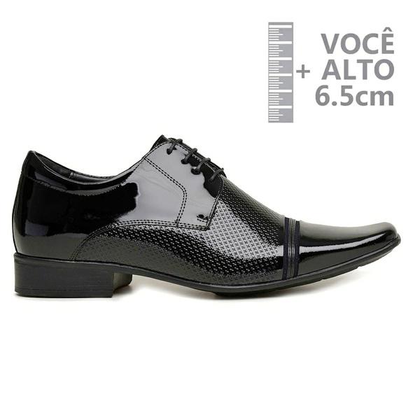 Sapato com Salto Interno Jota Pe Verniz Preto Grow Air