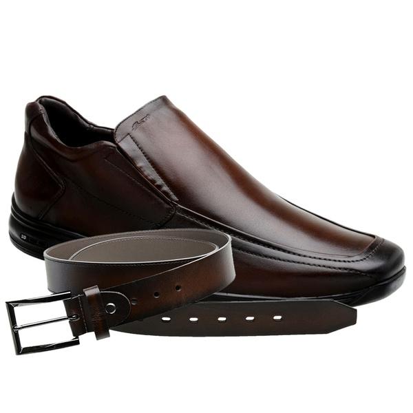 Sapato Jota Pe 3D Marrom Air Discovery Tamanho Grande + Cinto de Couro
