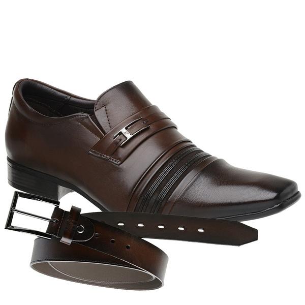 Sapato Social Jota Pe Marrom Boss + Cinto de Couro