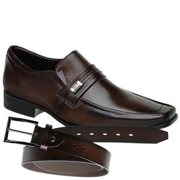 Sapato Jota Pe Marrom Air Quartz + Cinto de Couro