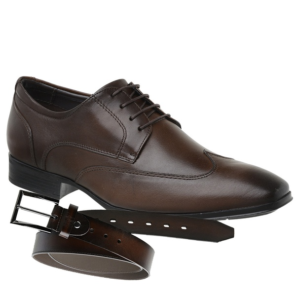 Sapato Jota Pe Marrom Air Confort Fit + Cinto de Couro