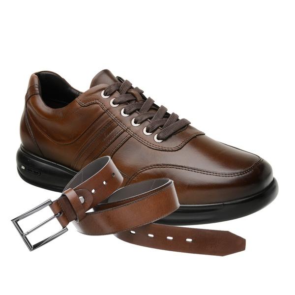 Sapato Jota Pe 3D Total Air Marrom + Cinto de Couro