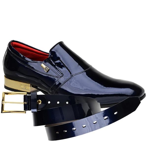 Sapato Social Jota Pe Verniz Purple Blue + Cinto De Verniz