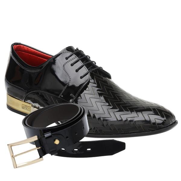 Sapato Social Jota Pe Verniz Preto Ducalle Gold + Cinto de Verniz