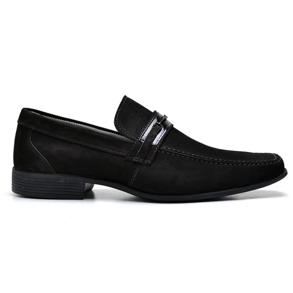 Sapato Social Couro Preto Nobuck