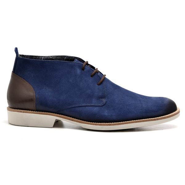 Bota Casual Azul Couro Nobuck Oxford