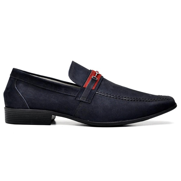 Sapato Social Couro Azul Marinho Nobuck