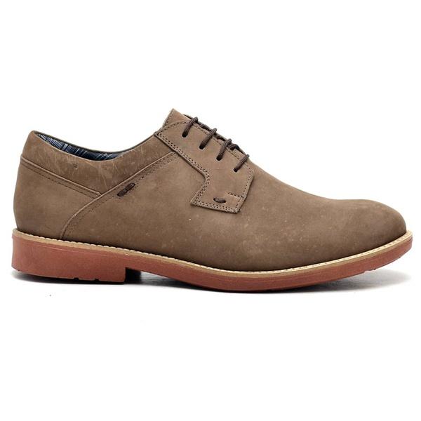 Sapato Casual Couro Nobuck Oxford Bege