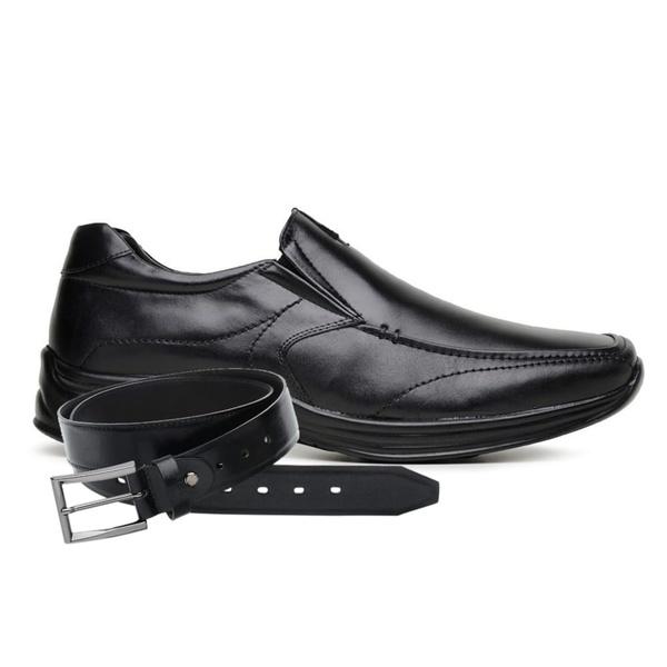 Sapato Jota Pe Preto Couro Air Life + Cinto de Couro