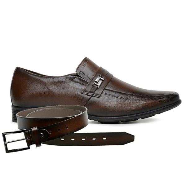 Sapato Jota Pe Marrom Couro Air King + Cinto de Couro