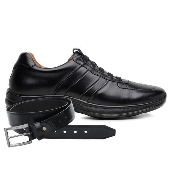 Sapato Jota Pe Preto 4K Technology Elástico + Cinto de Couro