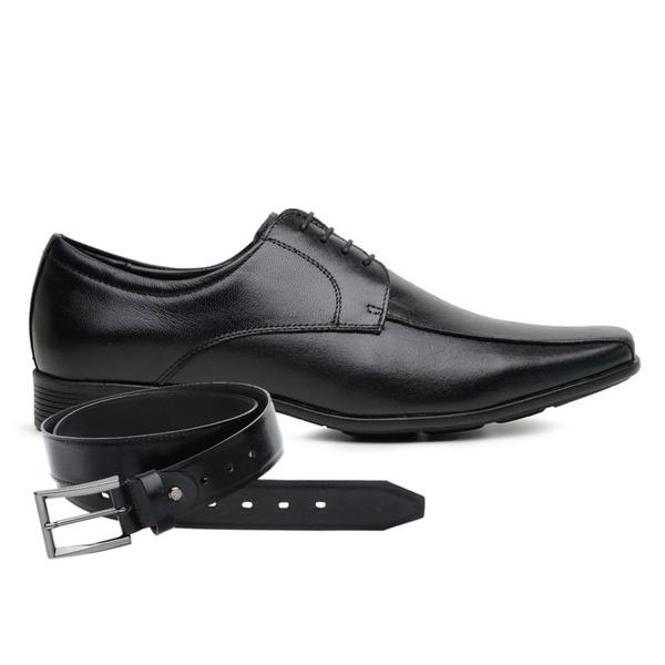 Sapato Jota Pe Couro Preto Air Magic + Cinto de Couro