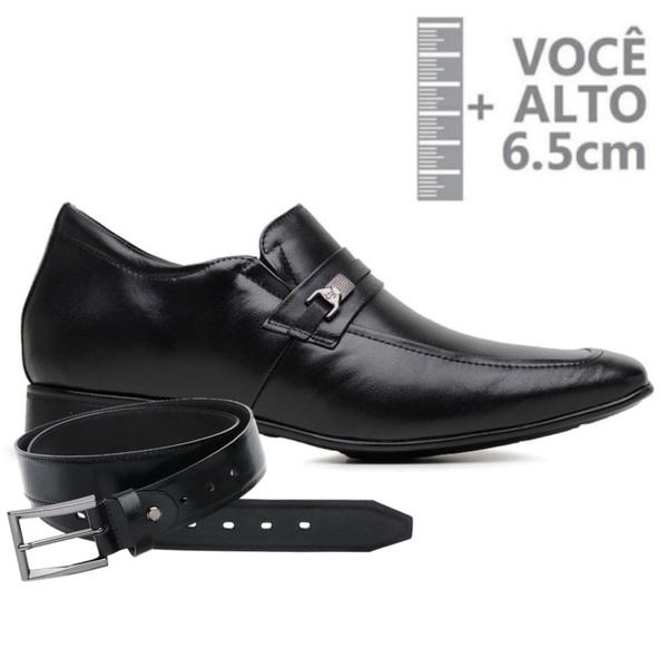 Sapato com Salto Interno Jota Pe Preto Grow Air Detroit + Cinto de Couro