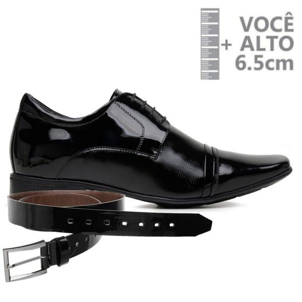 Sapato com Salto Interno Jota Pe Preto Verniz Air Fillipo + Cinto de Verniz