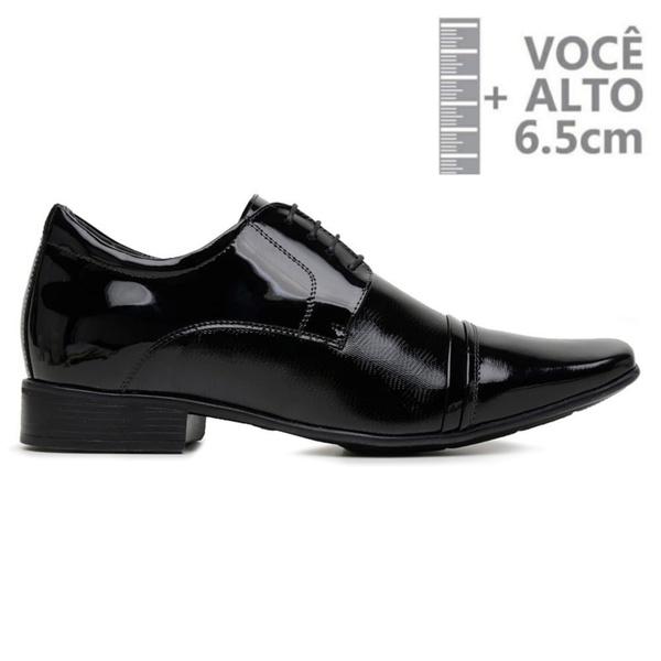 Sapato com Salto Interno Jota Pe Preto Verniz Air Fillipo