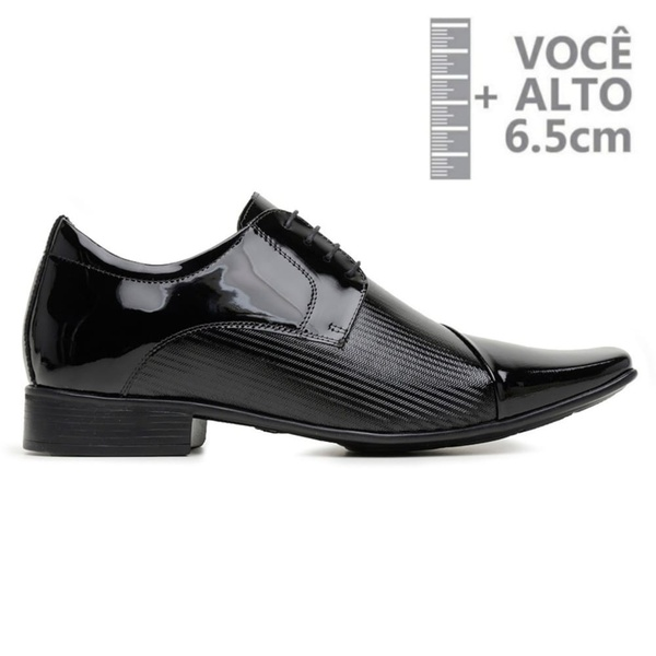 Sapato com Salto Interno Jota Pe Verniz Preto Grow Air Fillipo