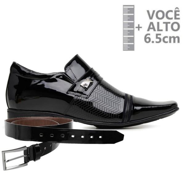 Sapato com Salto Interno Jota Pe Preto Verniz Air Fergus + Cinto de Verniz