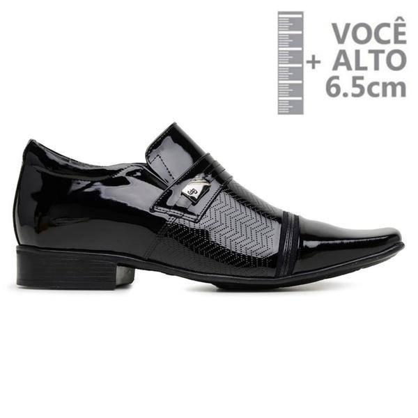 Sapato com Salto Interno Jota Pe Preto Verniz Air Fergus