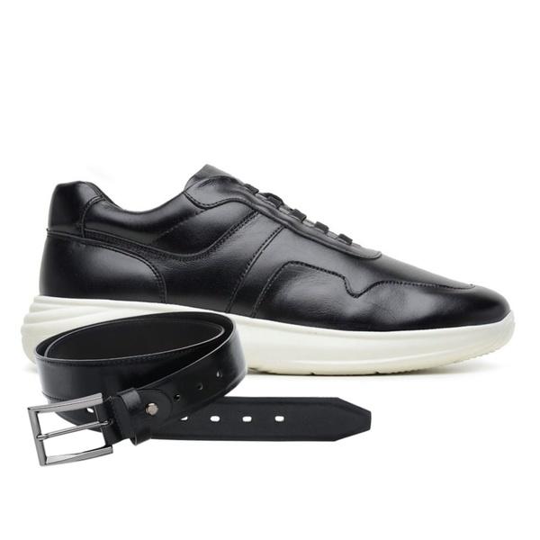 Sapato Jota Pe Preto 3D Air Evoque XS + Cinto de Couro
