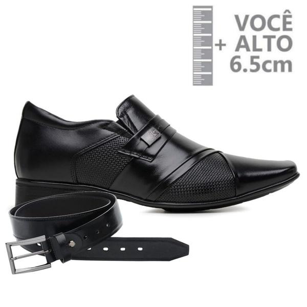 Sapato com Salto Interno Jota Pe Preto Grow Air Piero + Cinto de Couro