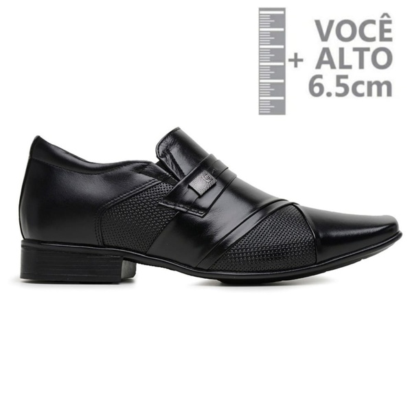 Sapato com Salto Interno Jota Pe Preto Grow Air Piero