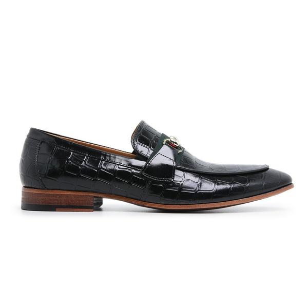 Sapato Social Couro Preto Croco Premium