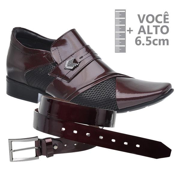 Sapato com Salto Interno Jota Pe Vinho Grow Air Princ + Cinto de Couro