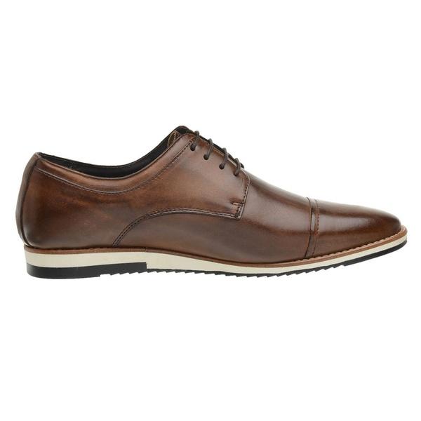 Sapato Casual Couro Derby Caramelo
