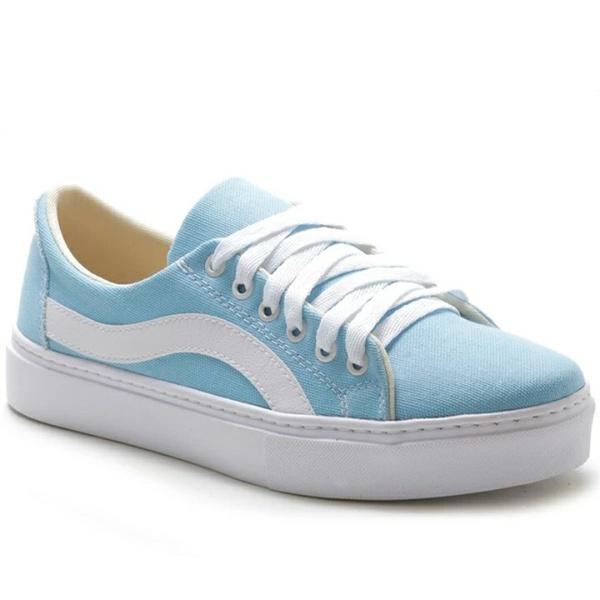 Tênis Casual Feminino Azul Branco Conforto