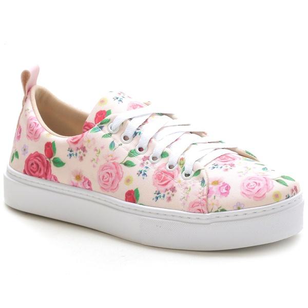 Tênis Casual Feminino Rosa Floral Conforto