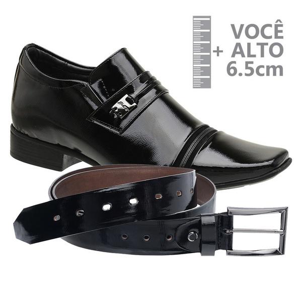 Sapato com Salto Interno Preto Jota Pe Verniz Grow Air + Cinto de Verniz