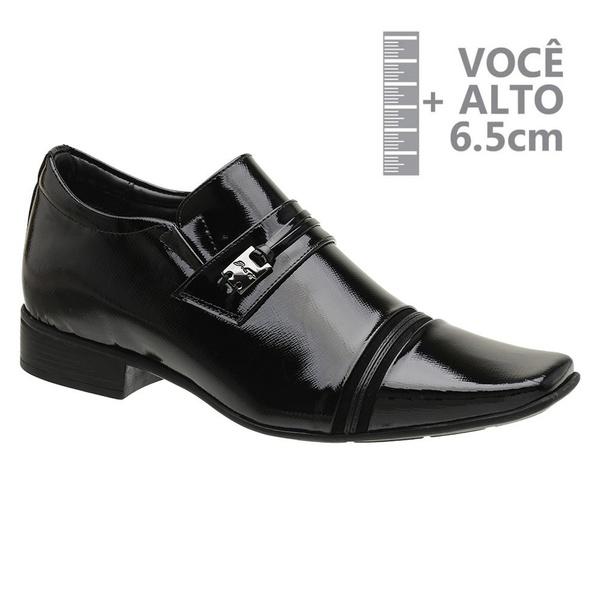 Sapato com Salto Interno Preto Jota Pe Verniz Grow Air Conna