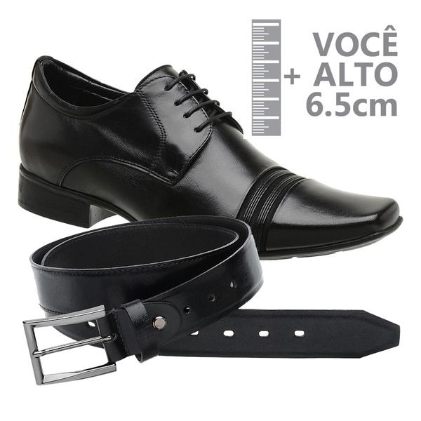 Sapato com Salto Interno Preto Jota Pe Grow Air + Cinto de Couro