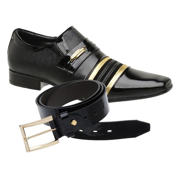 Sapato Social Jota Pe Verniz Preto/Ouro Velho Boss + Cinto de Verniz