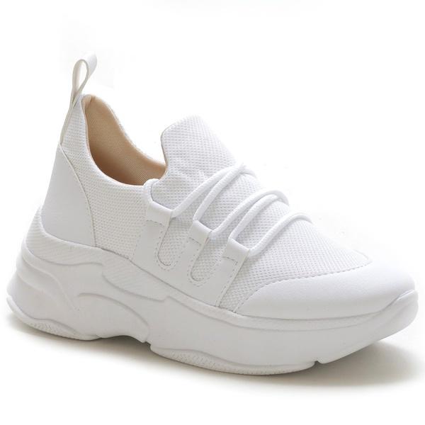 Tênis Feminino Sneaker Chunky Branco Tela