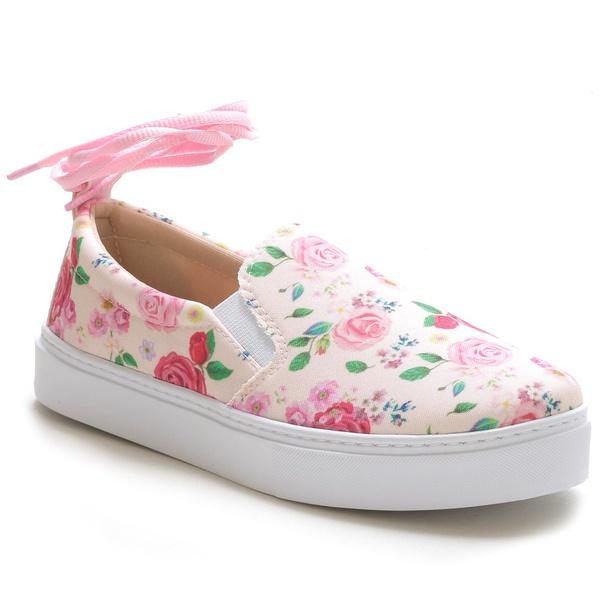 Tênis Slip On Feminino Floral Rosa Conforto Amarração