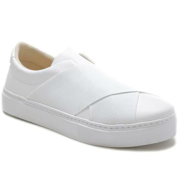 Tênis Slip On Feminino Branco Elástico