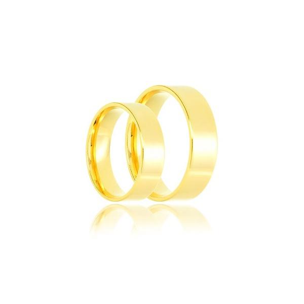 Aliança de ouro 18k amarelo lisa