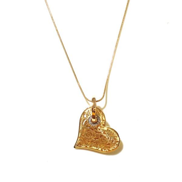 Colar Folheado a Ouro 18K Coração Vazado com Zircônias