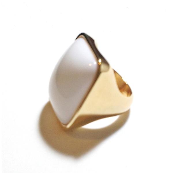 Anel Folheado a Ouro 18K com Porcelana