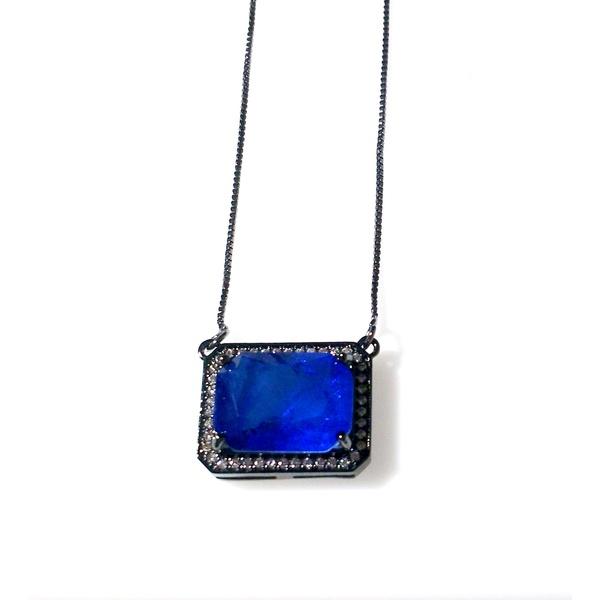 Colar Folheado a Ródio Negro com Pedra Fusion Azul Royal e Zircônias